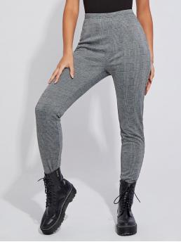 Casual Regular Plaid Grey Long Length Grey Check Leggings