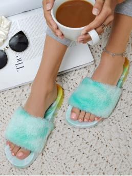 Discount Mint Green Slides Flat Open Toe Tie-dye Footbed Plush Vamp Sandals