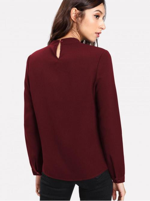 Beautiful Long Sleeve Top Pearls Velvet Pearl Detail Button Keyhole Back Blouse