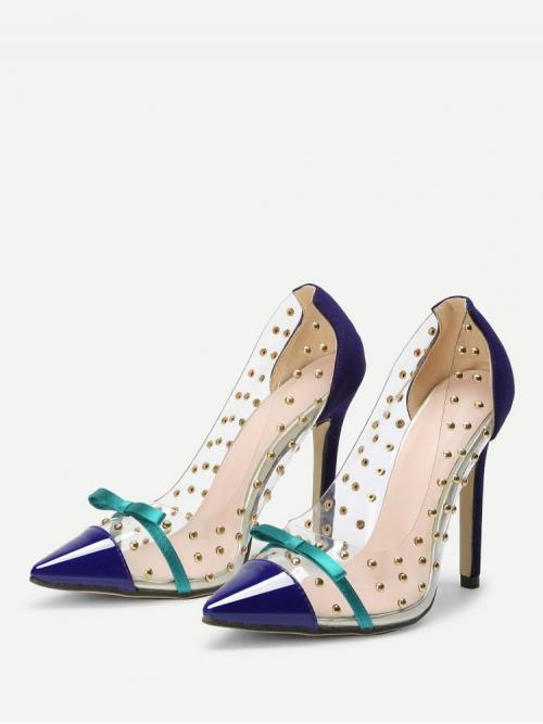 Women's Polyester Navy Blue Court Pumps Studded Bow Detail Pointed Toe Pumps with