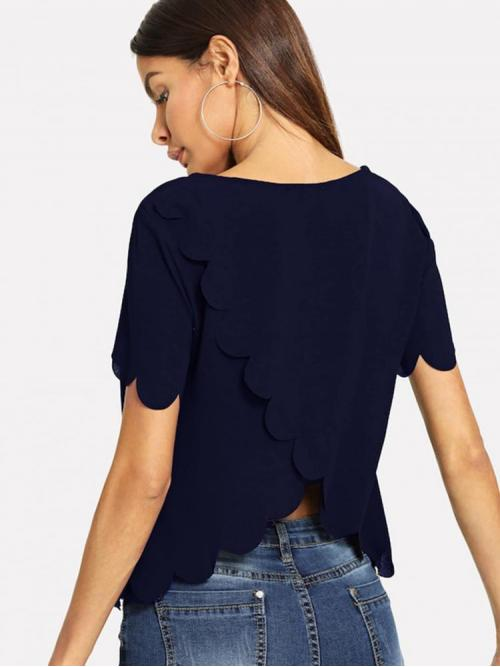 Short Sleeve Top Scallop Guipure Lace Top Shopping