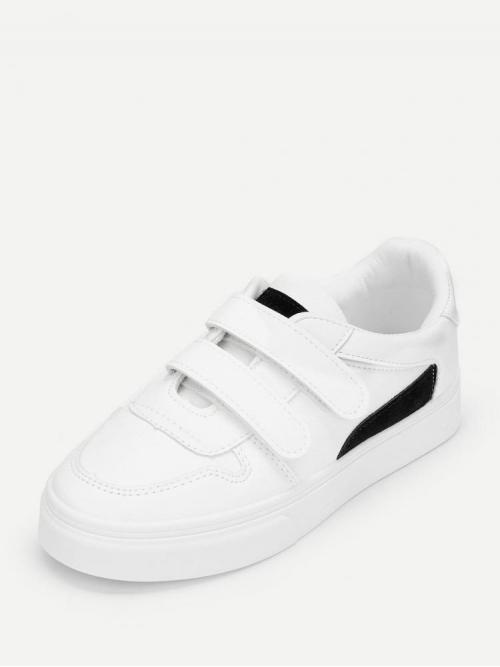 Womens Corduroy White Slip on Spiked Solid Velcro Sneakers