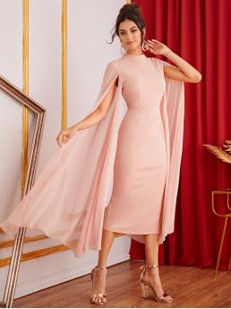 Glamorous Bodycon Plain Pencil Slim Fit Stand Collar Long Sleeve Cloak Sleeve High Waist Pink and Pastel Long Length Mock-neck Exaggerate Cape Sleeve Split Hem Pencil Dress
