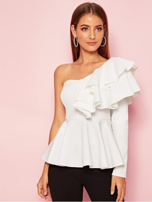 Elegant Plain Flared Peplum Regular Fit One Shoulder Long Sleeve Pullovers White Regular Length One Shoulder Ruffle Trim Layered Peplum Top