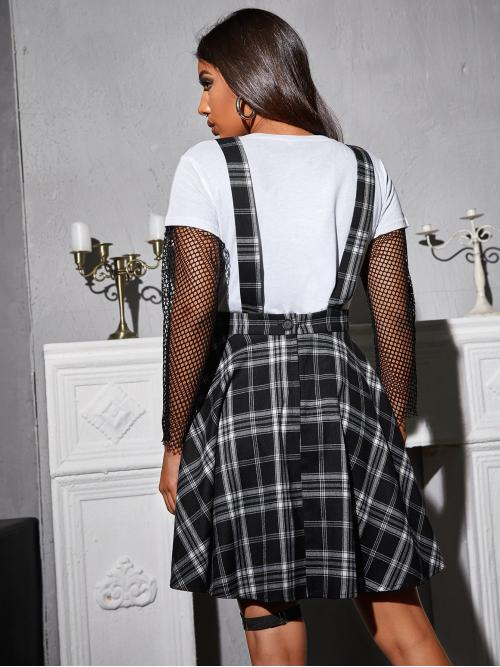 Black Plaid Button Front Straps Overall Dress Without Tee Trending now