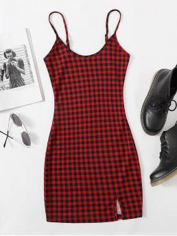 Multicolor Gingham Split Spaghetti Strap Buffalo Plaid Slit Cami Mini Dress Fashion