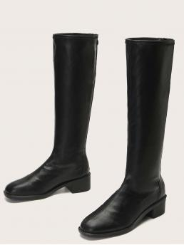 Cheap Black Riding Boots Low Heel Chunky Heeled Mid Calf Boots