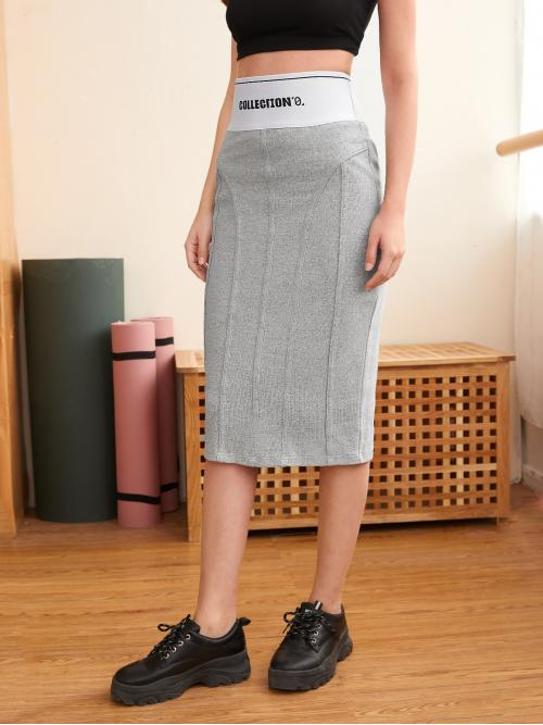 Cheap Light Grey High Waist Rib-knit Pencil Contrast Pattern Wide Waistband Skirt