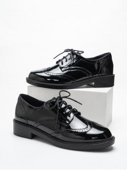 Black Oxfords Round Toe Pu Leather Patent Leather Oxford Shoes Pretty