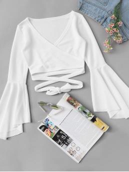 Young Sexy and Boho Plain Regular Fit V neck Long Sleeve Placket White Crop Length Flounce Sleeve Surplice Wrap Crop Top