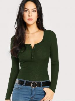 Long Sleeve Top Tiered Layer Polyester Rib Henley Tee Fashion