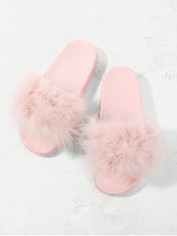 Comfort Pink Open Toe Fluffy Slippers