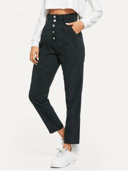 Casual Plain Tapered/Carrot Regular Button Fly High Waist Black Long Length High Waist Button Fly Cord Tapered Pants