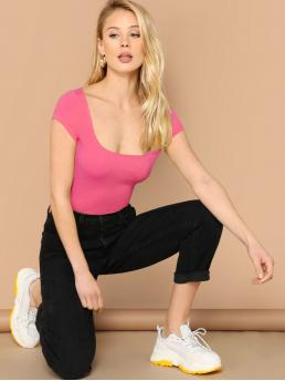 Sexy Plain Slim Fit Scoop Neck Cap Sleeve Pullovers Pink Regular Length Scoop Neck Cap Sleeve Top
