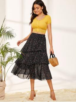 Boho Layered/Tiered Ditsy Floral High Waist Black Long/Full Length Ditsy Floral Print Layered Ruffle Skirt