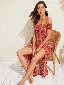 Boho A Line Ditsy Floral Slit Regular Fit Off the Shoulder Short Sleeve Regular Sleeve High Waist Red Long Length Ditsy Floral Print Split Thigh Shirred Bardot Dress