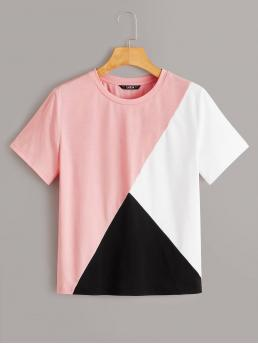 Casual Colorblock Regular Fit Round Neck Short Sleeve Pullovers Multicolor Regular Length Short Sleeve Colorblock Tee