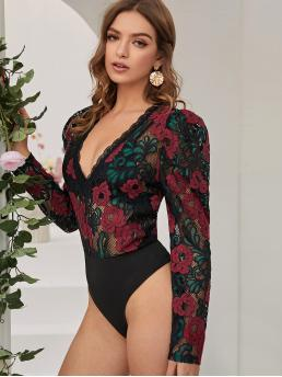 Sexy Other Floral Regular Deep V Neck Long Sleeve Mid Waist Multicolor Floral Print Puff Sleeve Lace Bodysuit