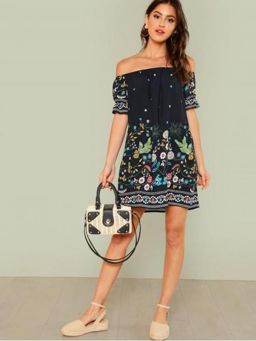 Discount Multicolor Tribal Ruffle off the Shoulder Botanical Print Cuff Dress