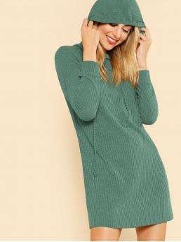 Casual Plain Straight Hooded Long Sleeve Natural Green Short Length Solid Rib Knit Hoodie Dress