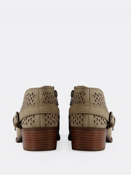 Polyester Khaki Stretch Boots Cut out Faux Leather Perforated Booties Ladies
