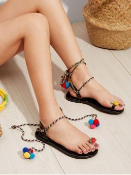 Casual Multicolor Pom Pom Decorated Lace-Up Sandals