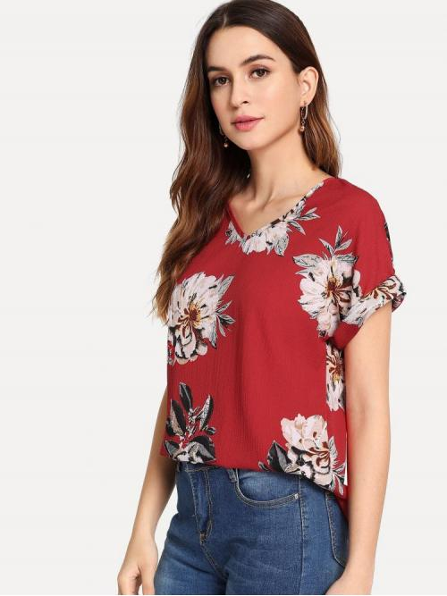 Womens Short Sleeve Top Lace up Polyester Curved Hem Top
