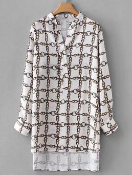 Casual Chain Print Top Regular Fit V neck Long Sleeve Regular Sleeve Pullovers Multicolor Longline Length Chain Print Dip Hem Blouse