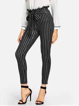 Casual Striped Skinny Elastic Waist High Waist Black Cropped Length Paperbag Waist Striped Pants with Belt