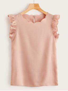 Cute Plain Top Regular Fit Round Neck Sleeveless Pullovers Pink Regular Length Ruffle Armhole Scalloped Trim Top