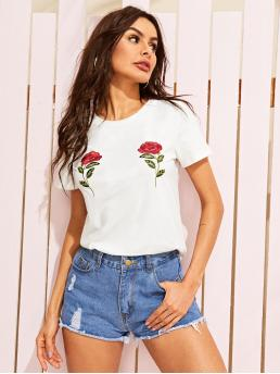 Casual Regular Fit Round Neck Short Sleeve Pullovers White Regular Length Embroidered Rose Applique Tee