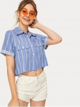 Casual Striped Shirt Regular Fit Collar Short Sleeve Roll Up Sleeve Placket Blue Crop Length Striped Button Front Boxy Shirt