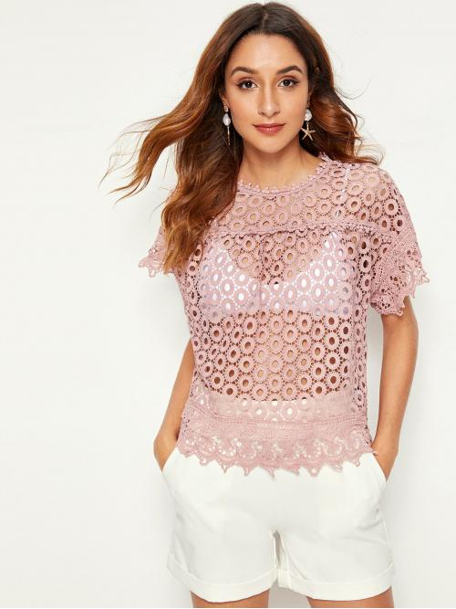 Boho Plain Top Regular Fit Round Neck Short Sleeve Batwing Sleeve Pullovers Pink and Pastel Regular Length Keyhole Back Guipure Lace Top Without Bra