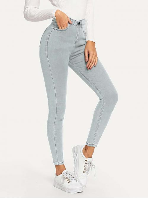 Casual Plain Skinny Skinny Button Fly High Waist Blue Cropped Length Skinny Ankle Jeans