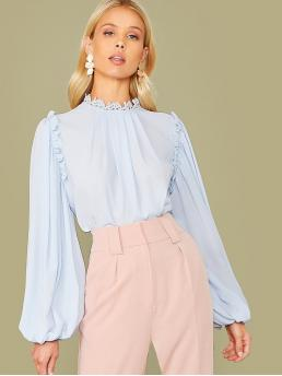 Romantic Plain Top Regular Fit Stand Collar Long Sleeve Bishop Sleeve Pullovers Blue and Pastel Regular Length Guipure Lace Neck Lantern Sleeve Pleated Detail Top