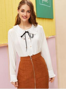 Preppy Plain Shirt Regular Fit Peter Pan Collar Long Sleeve Placket White Regular Length Double-breasted Tie Neck Frill Blouse