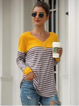 Casual Striped and Colorblock Regular Fit V neck Long Sleeve Regular Sleeve Pullovers Multicolor Regular Length V Neck Contrast Panel Striped Tee