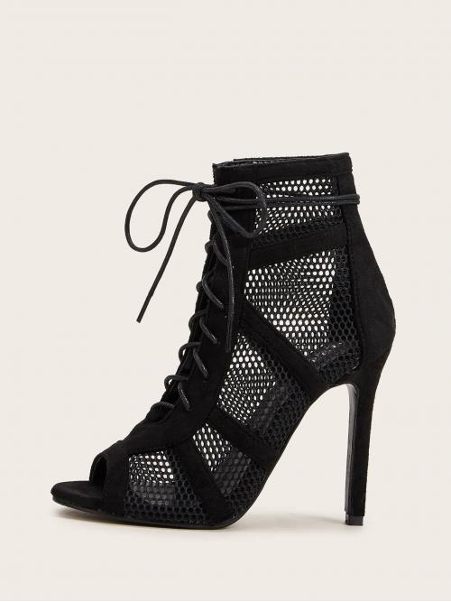 Glamorous Plain Lace Up Black High Heel Stiletto Peep Toe Lace-up Front Mesh Stiletto Heels