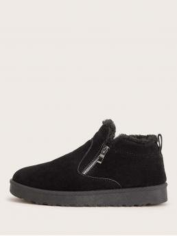 Comfort Other Round Toe Plain Side zipper Black Side Zip Suede Faux Fur Lined Ankle Boots