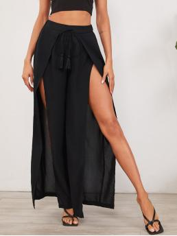 Black High Waist Split Thigh Wide Leg Fringe Knot Waist Wrap Pants Discount