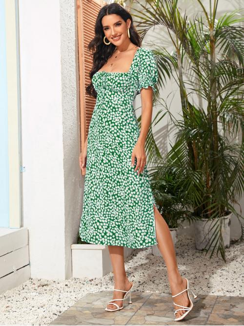 Green Ditsy Floral Shirred Square Neck Split Thigh Dress on Sale