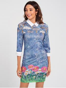 Multicolor all over Print Zipper Peter Pan Collar Contrast Collar and Cuff Allover Print Dress Shopping