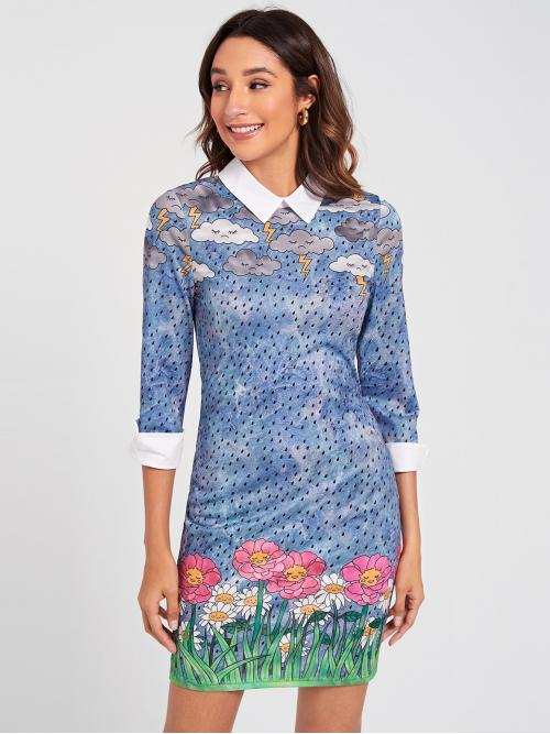 Pretty Multicolor all over Print Zipper Peter Pan Collar Contrast Collar and Cuff Allover Print Dress