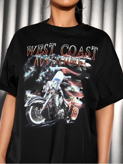 Fashion Short Sleeve Cotton Flag Black and Motorcycle Print Top