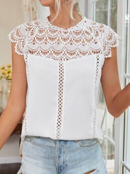 Cap Sleeve Top Contrast Lace Polyester Keyhole Back Hollow out Crochet Blouse Discount
