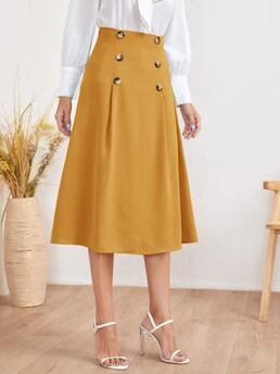 Mustard Yellow High Waist Zipper a Line Double Breasted Solid Skirt Pretty