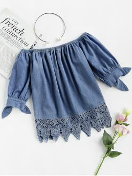 Boho Plain Asymmetrical Top Regular Fit Off the Shoulder Short Sleeve Pullovers Blue Regular Length Crochet Trim Tie Cuff Chambray Bardot Top