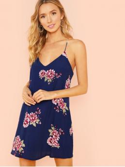 Casual Cami Floral V neck Sleeveless Blue Short Length Floral Print Tank Dress with Lining