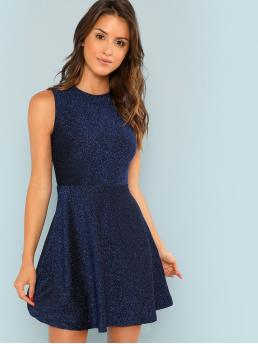 Womens Navy Blue Plain Zipper Round Neck Fit and Flare Glitter Dress