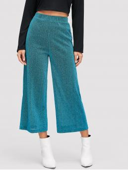 Teal Blue Natural Waist Drawstring Wide Leg Waist Elastic Solid Pants on Sale
